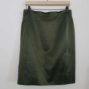 Escada Olive Green Wool Silk Skirt